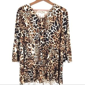 Susan Graver Ruffled Animal Print Blouse M
